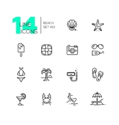 At the Beach - line icons set vector image