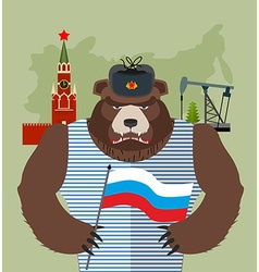 Bear with ear flaps with flag of Russia Background vector
