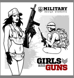 Beautiful woman holding a gun vector