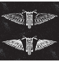 biker theme grunge labels set with bike and wings vector image