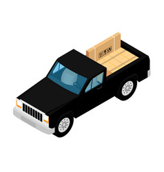 black pickup truck deliver cardboard boxes vector image