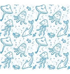 Blue and white sea live in cartoon style seamless vector image