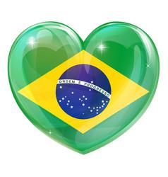 brazil flag love heart vector image