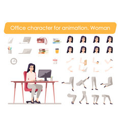 Business woman front view animated flat character vector