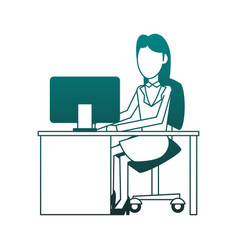 businesswomans at office blue lines vector image