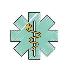 Caduceus medical shield vector