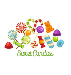 Candies and sweets poster confectionery caramel vector
