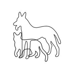 cat and dog line art vector image