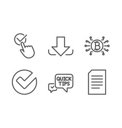 Checkbox download and bitcoin system icons set vector