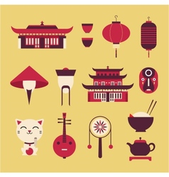 Chinese Travel Icons vector