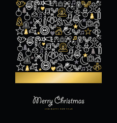 christmas and new year gold icon set card vector image