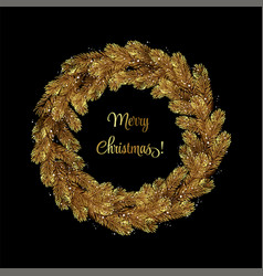 christmas wreath pine branches vector image
