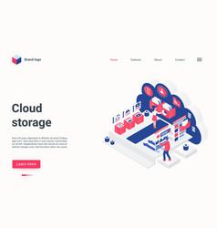 cloud storage concept isometric landing page 3d vector image