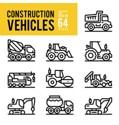 construction vehicle and transport outline icons vector image