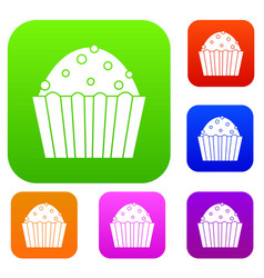 cup cake set color collection vector image