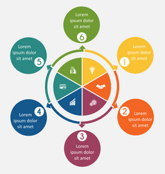diagram 6 cyclic processes step by step colorful vector image