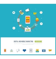 Digital and mobile marketing Social network vector image