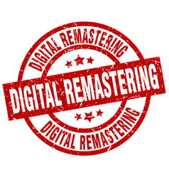 digital remastering round red grunge stamp vector image