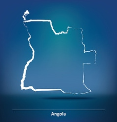Doodle Map of Angola vector