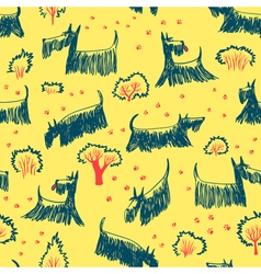 Doodle seamless pattern with Scotch Terrier dog vector