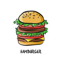 drawing hamburger vector image