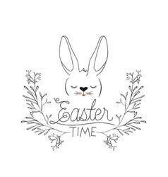 easter time poster with bunny face in floral vector image vector image
