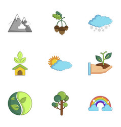 Ecology icons set cartoon style vector