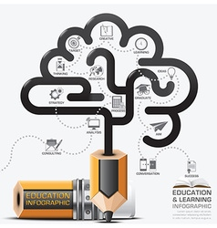 Education And Learning Step Infographic With Brain vector image