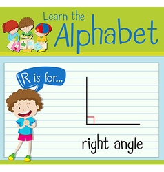 Flashcard letter R is for right angle vector