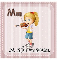 Flashcard M is for musician vector
