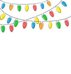 flat Christmas lights isolated on white vector image