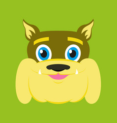 Flat icons on theme funny animals bulldog vector