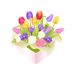 flowers oval decorative box luxury tulips crocus vector image