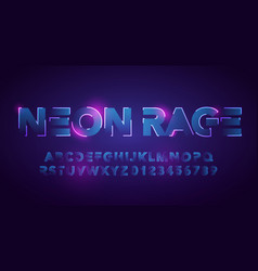 futuristic neon font urban technology typography vector image