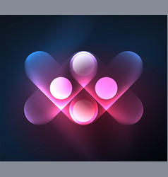 Glowing geometric shapes background vector