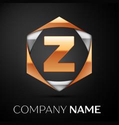 gold letter z logo in the golden-silver hexagonal vector image
