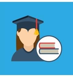 Graduation cap and book icon vector