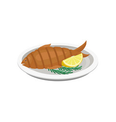 grilled fish on a plate on a vector image