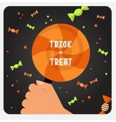 Halloween trick or treat card design vector
