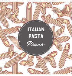 hand drawn background with pasta penne vector image