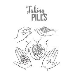 hand drawn hands holding piles of pills capsules vector image