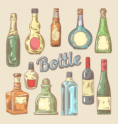 hand drawn set different bottles for drinks vector image