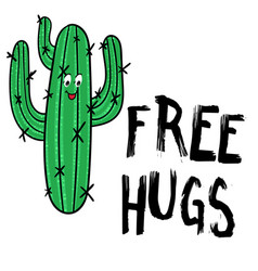happy cactus with message free hugs vector image