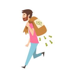 happy wealthy guy carrying sack full money vector image