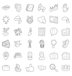 Hard business icons set outline style vector