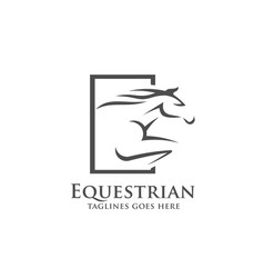 Horse racing logo template vector