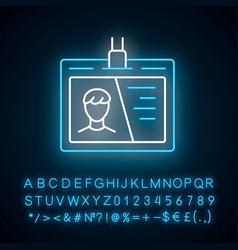 identification document neon light icon glowing vector image