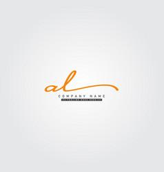Initial letter al logo - hand drawn signature vector