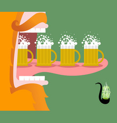 Leprechaun drinking beer scary gnome reddish vector