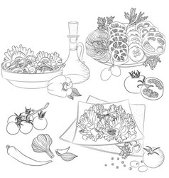 Line art various salads vector